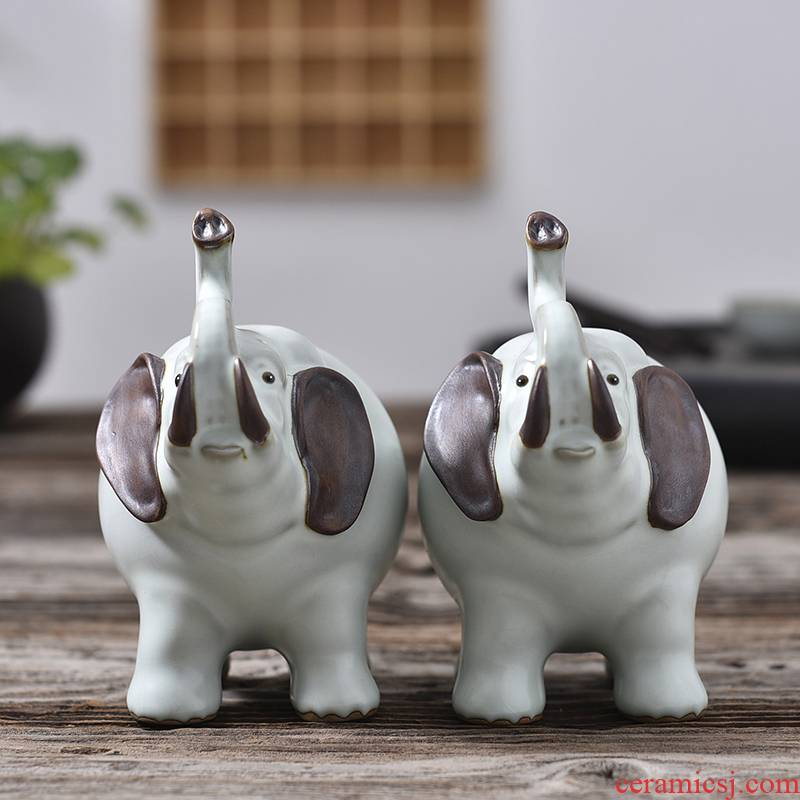 Furnishing articles pet boutique shadow enjoy your up tea to raise household ceramic elephant play purple sand tea tray tea tea accessories MDJ