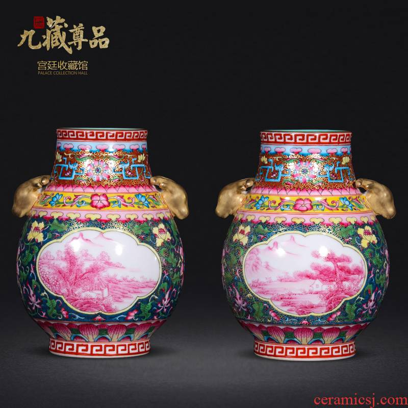 Jingdezhen ceramics antique hand - made see colour enamel window rouge landscape f barrels vase crafts