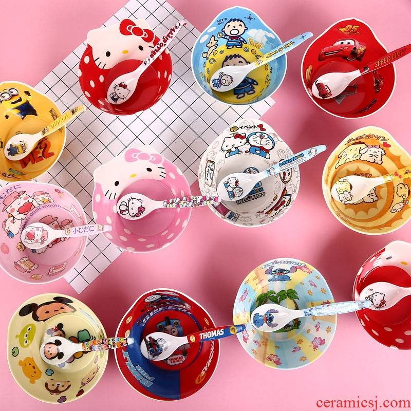 BG cartoon children use of melamine imitation porcelain from household soup bowl plastic bowl creative express baby eat bread and butter
