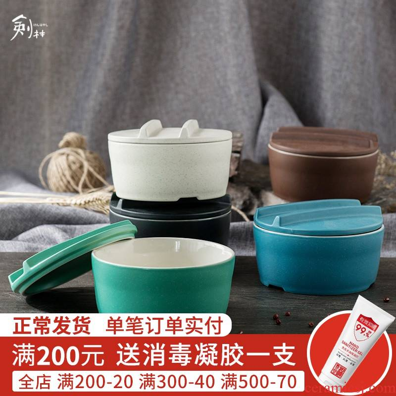 Creative, Korean ceramics tableware rainbow such as bowl bowl mercifully fantong li riceses leave students with cover large bowl