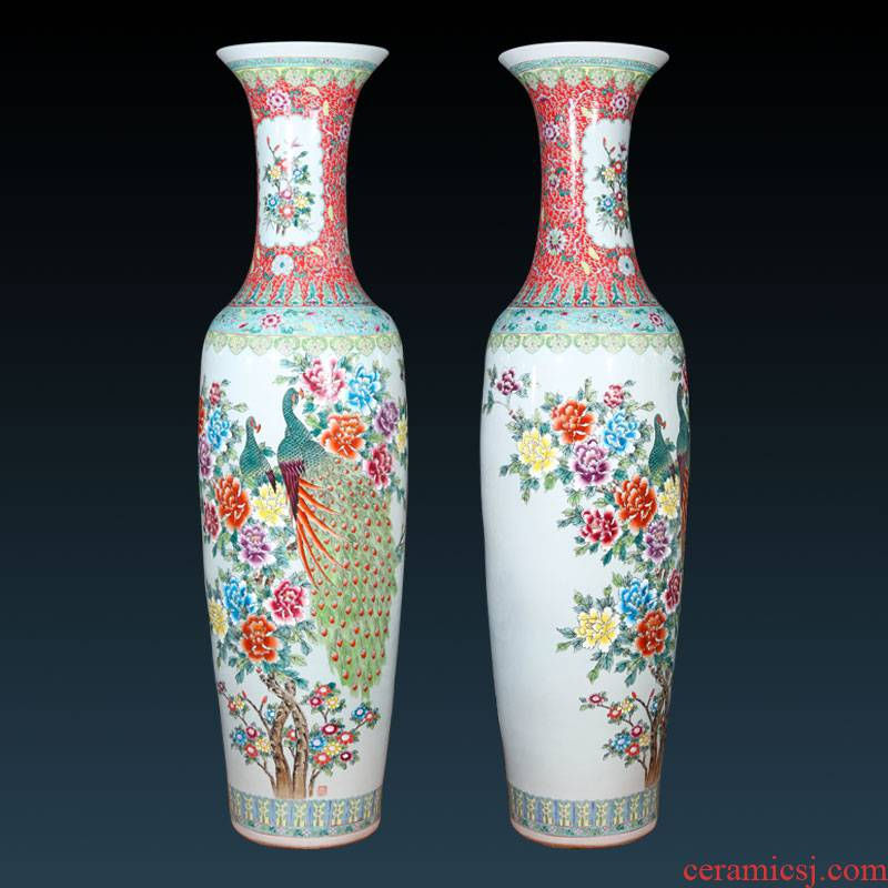 Jingdezhen ceramics hand - made pastel peacock figure of large vases, hotel, villa and courtyard decorations furnishing articles