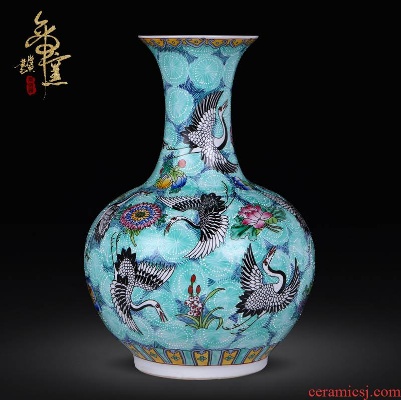 Jingdezhen ceramics hand - made pastel landing big vase household adornment handicraft furnishing articles vases, large living room