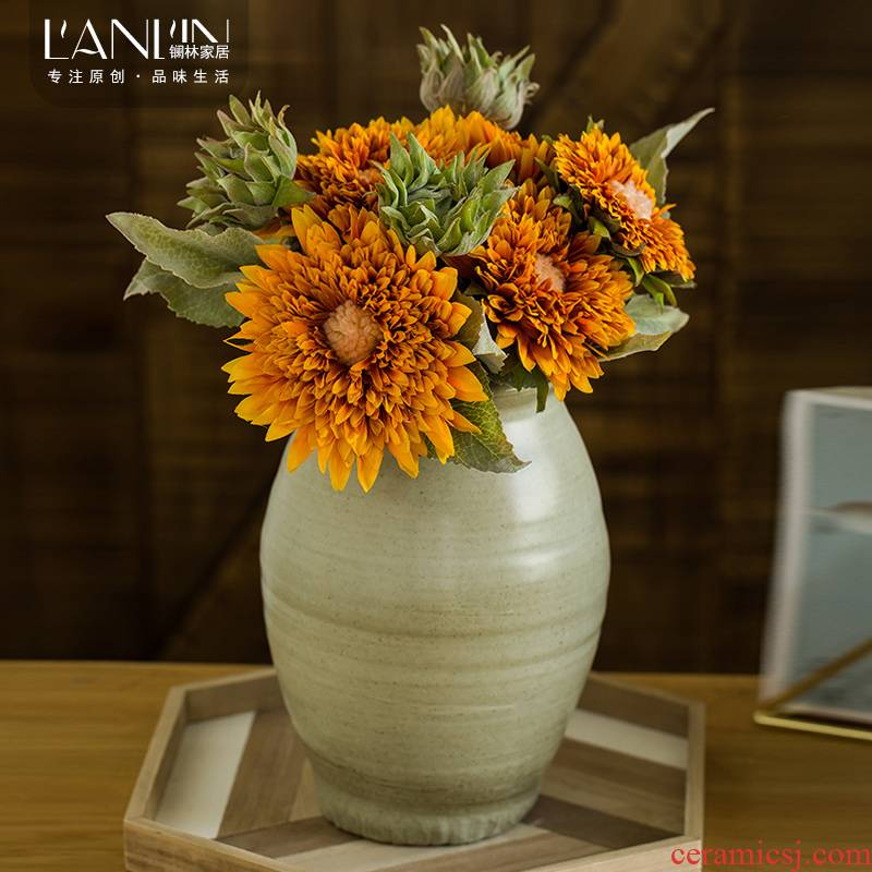Simulation sunflower sunflower sunflower bouquet vase furnishing articles sitting room table dry flower arranging flowers, artificial flowers, flower art ceramics
