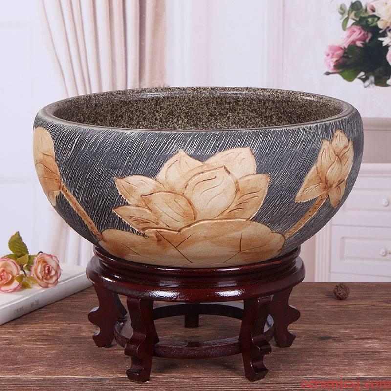 Jingdezhen ceramic aquarium large fish basin bowl lotus lotus lotus tortoise cylinder sitting room feng shui goldfish bowl