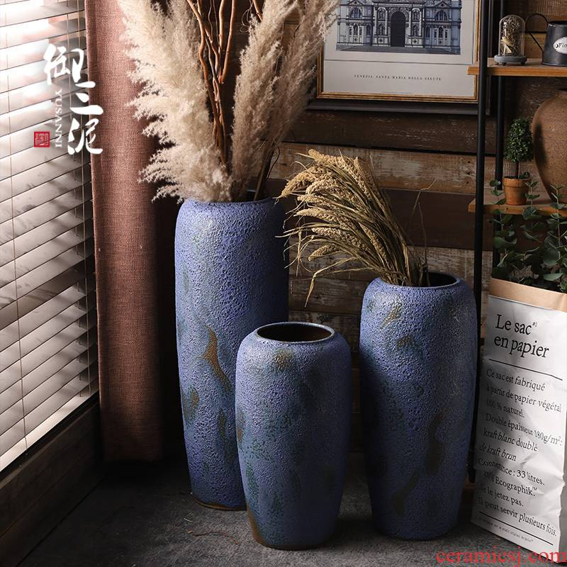 Retro coarse pottery vase landing blue ceramic dried flower arranging flowers furnishing articles POTS to I and contracted sitting room window decoration