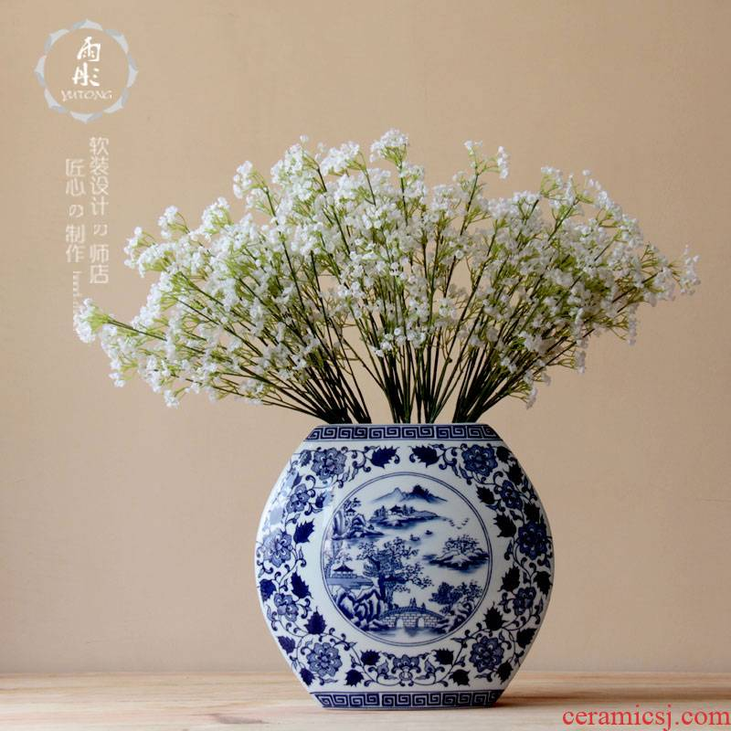 The rain tong home | classic blue and white porcelain creative flower jingdezhen blue and white porcelain home decoration ceramic furnishing articles