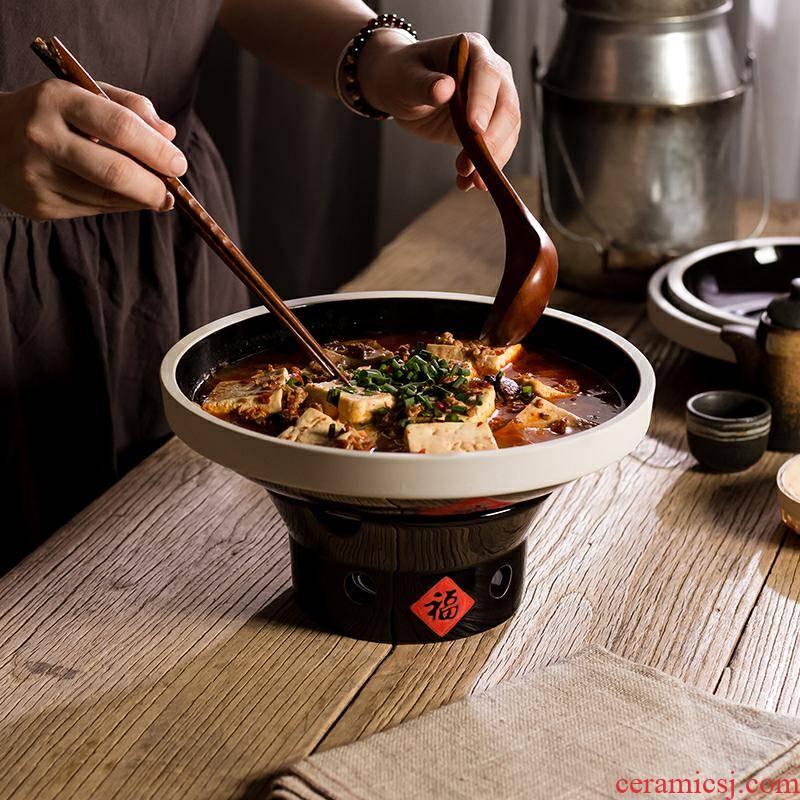 Ceramic hot pot restaurant tableware ltd. 0 household candles alcohol furnace the heat preservation tableware retro hotel