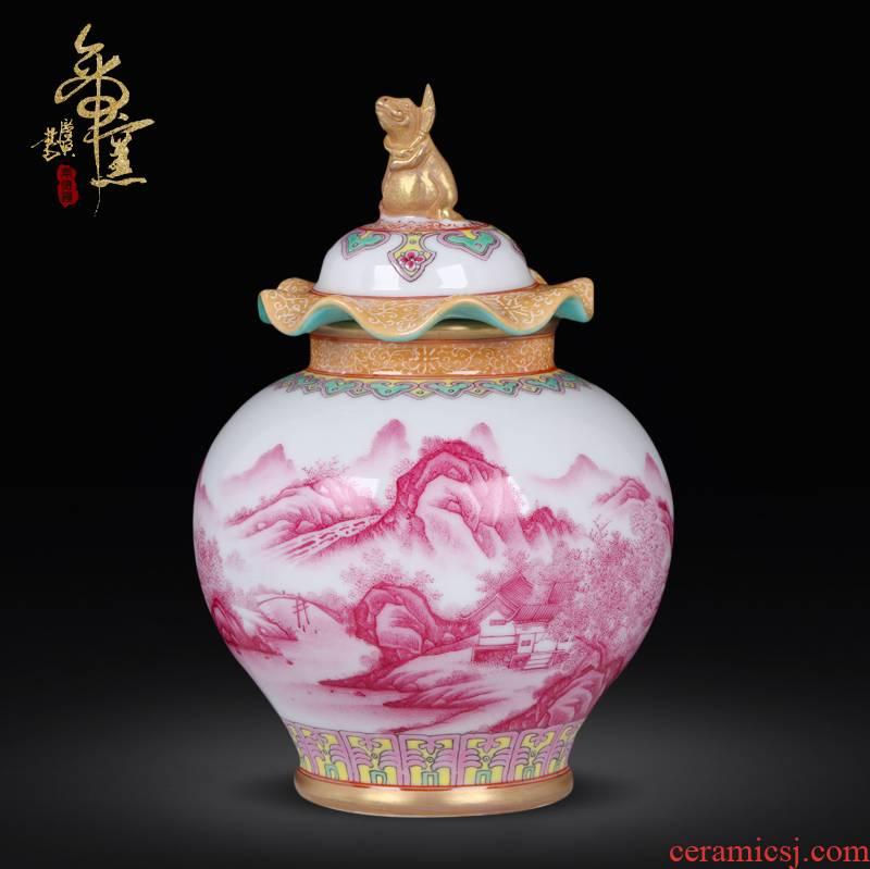 Jingdezhen ceramics imitation the qing qianlong hand - made alum red paint landscape general pot vase household handicraft furnishing articles