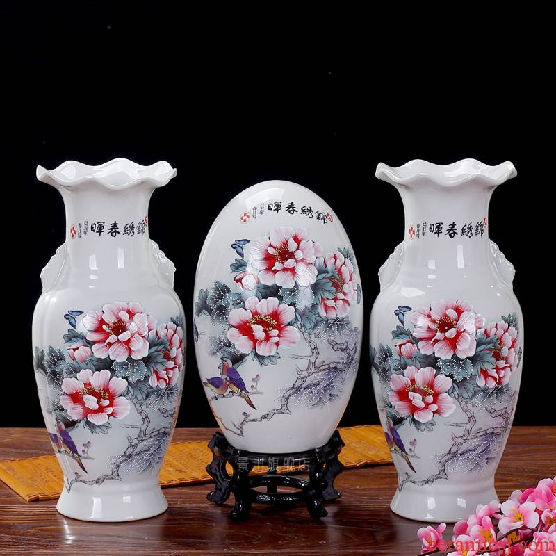 Jingdezhen ceramics archaize manual three - piece vase peony flower furnishing articles fashionable sitting room arts and crafts