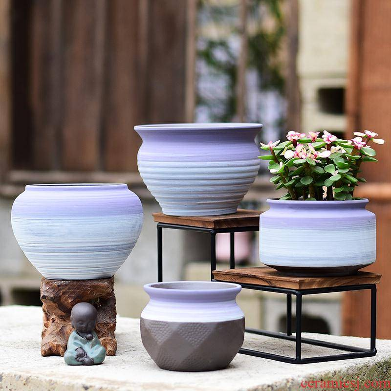 Fleshy flower pot in ceramic purple sand bag mail specials coarse pottery breathable household creative new flesh POTS of the plants
