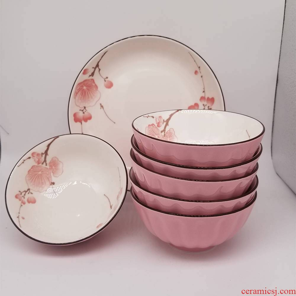 "10 a to pumpkin ceramic bowl of household microwave 4.5/5 ""rice bowl of cutlery set"
