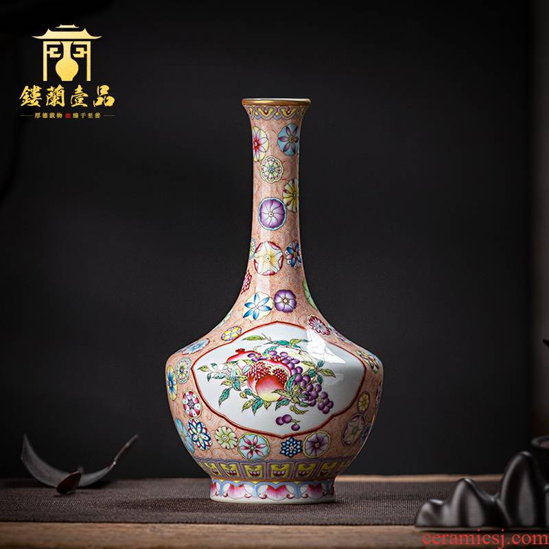 Jingdezhen ceramic all hand colored enamel ball flower tea tea pet bottles household floret bottle decoration bottle furnishing articles