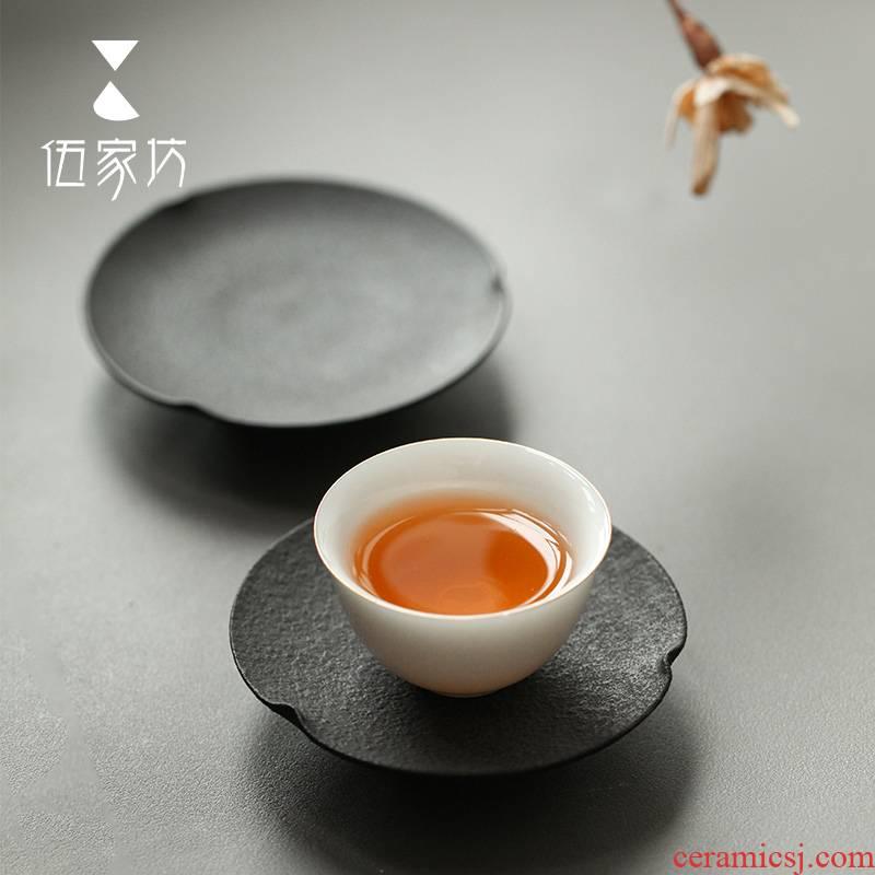 The Wu family fang cup mat creative ceramic kung fu tea set with parts Japanese saucer heat pot pad tea taking with zero