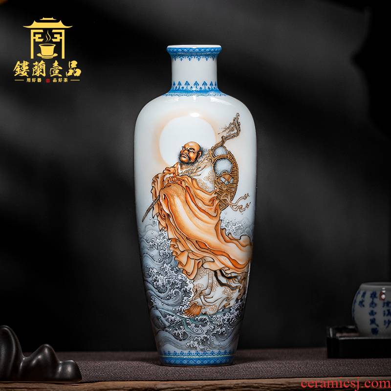 Jingdezhen ceramic hand - made boutique dharma river - crossing honour person flower arranging dried flower vase home decor collection furnishing articles