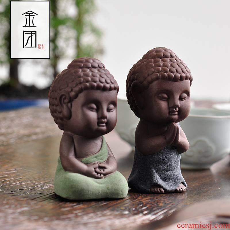 Shadow enjoy purple sand tea pet furnishing articles see colour sand clay Buddha little Buddha tea play home furnishing articles express little monk tea pet JT