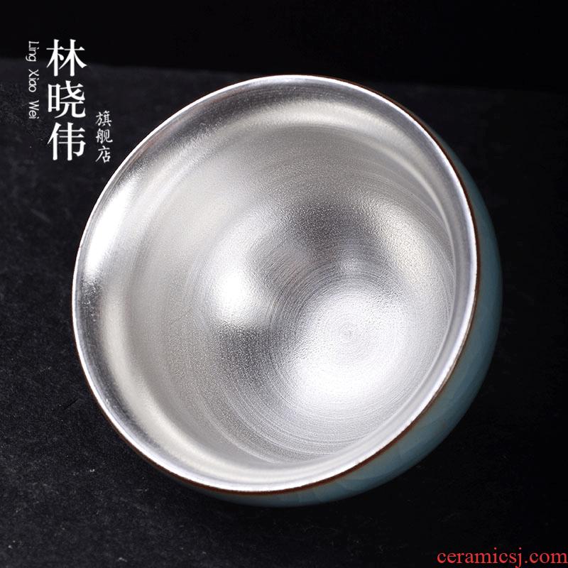 999 sterling silver five ancient jun ceramic cups with silver master cup coppering. As single CPU building light tea pu - erh tea sample tea cup
