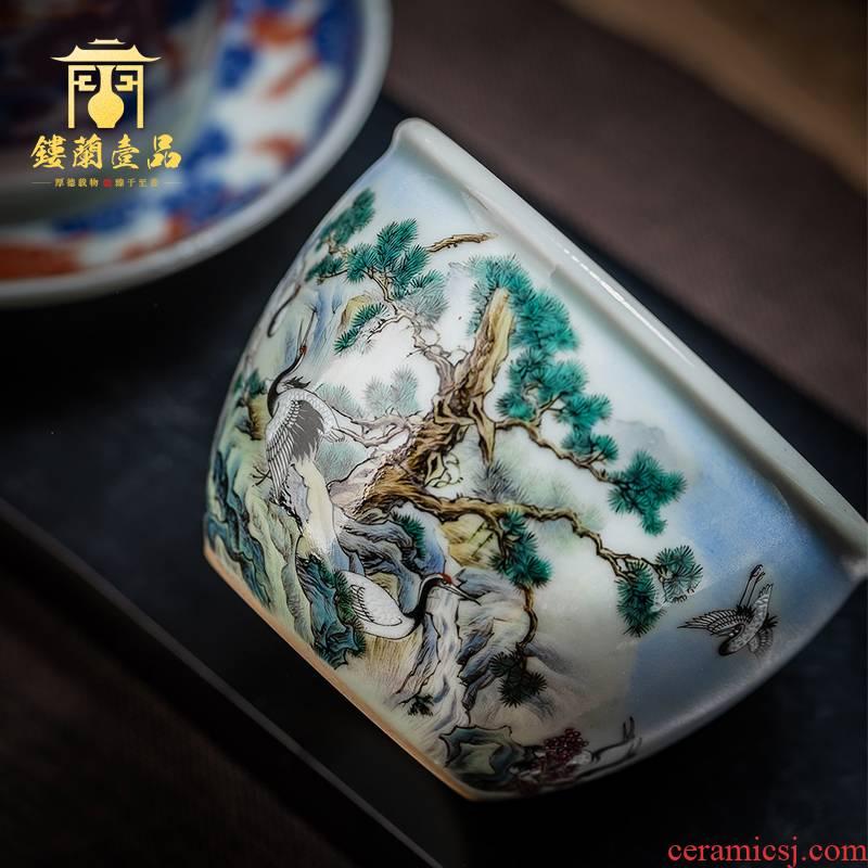Jingdezhen ceramic pure hand draw pastel pine crane live master cup kung fu tea tea cup personal tea cups