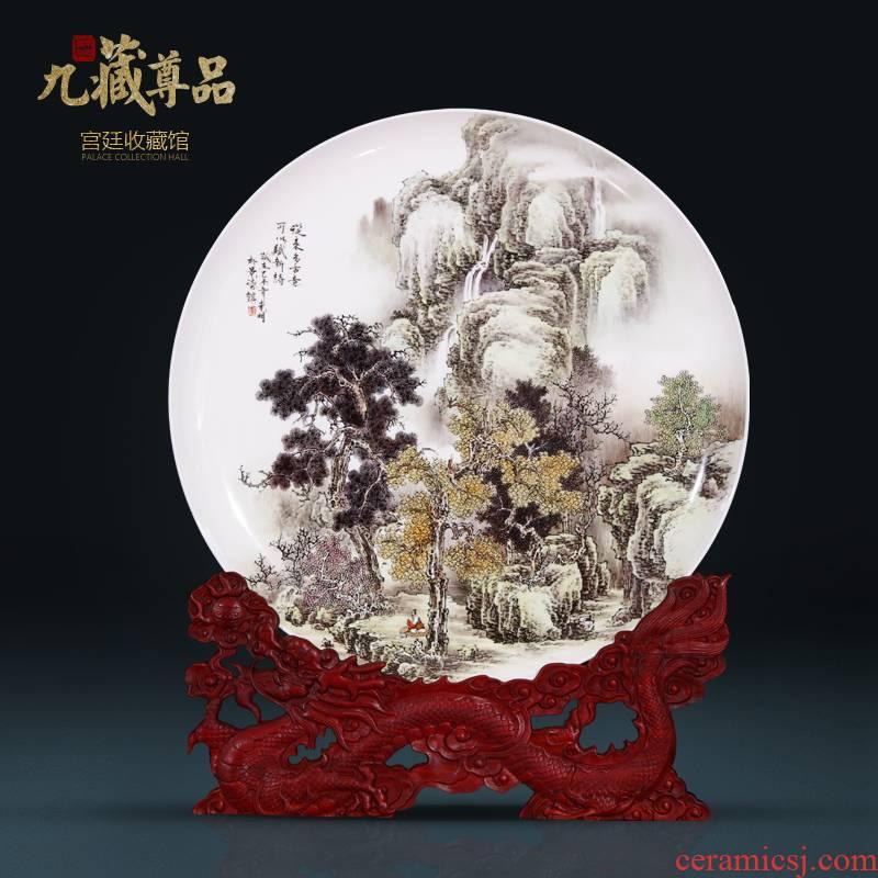 Jingdezhen ceramics dong - Ming li hand - made hang dish sitting room porch study Chinese rich ancient frame decoration as furnishing articles