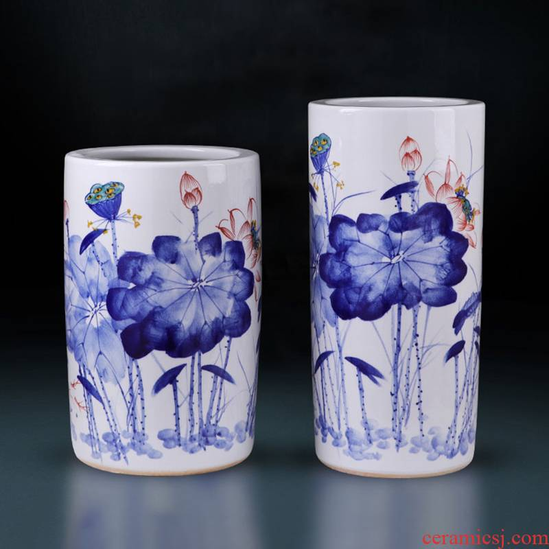 Jingdezhen ceramics vase large hand - made landing big cylinder straight bottle furnishing articles of Chinese style household ornaments