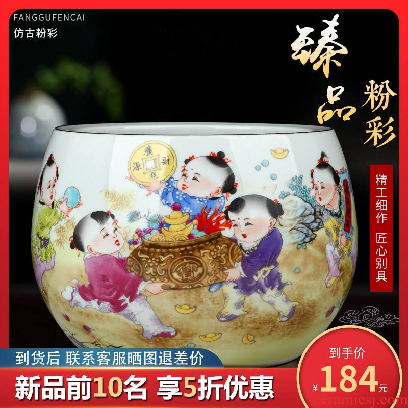Jingdezhen ceramic powder enamel creative home desktop cylinder cornucopia adornment of the sitting room porch feng shui plutus furnishing articles