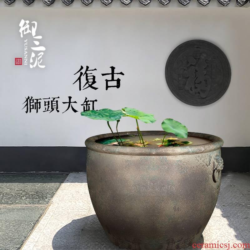 Jingdezhen ceramic VAT aquarium turtle pond lily large sitting room ceramic tank head do old restoring ancient ways goldfish bowl