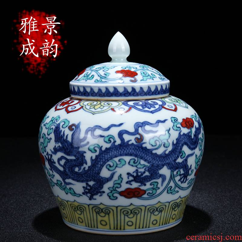Jingdezhen ceramic tea pot new Chinese hand - made color bucket day word tea tea tea storage tank furnishing articles