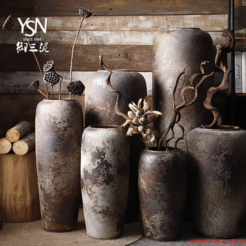 Landing clay coarse pottery dried flowers to decorate the modern earthenware flowerpot retro ceramic vase flower arranging furnishing articles large living room