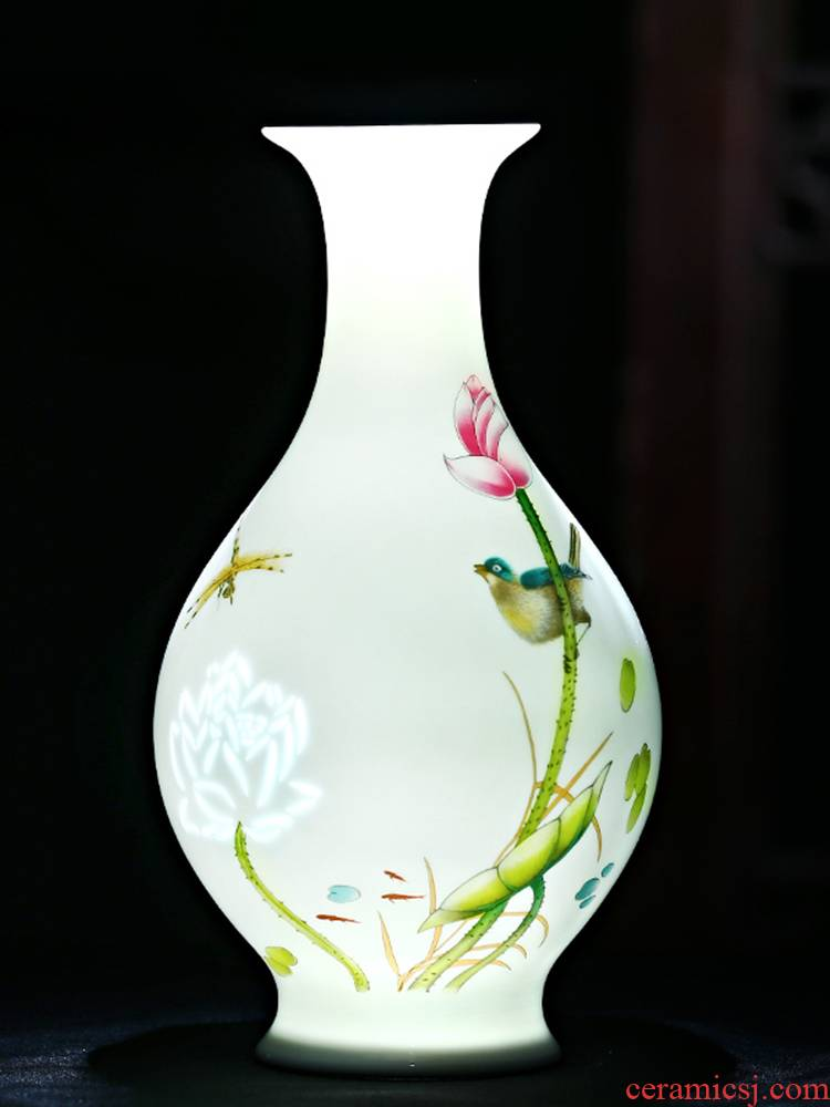Jingdezhen ceramics thin foetus lotus flower vases, flower arrangement sitting room of Chinese style household rich ancient frame crafts ornament