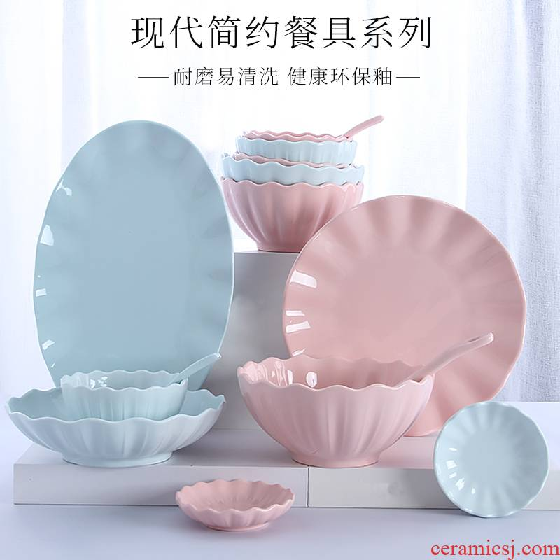 Home to eat bread and butter plate combination of jingdezhen ceramic large 0 Japanese creative contracted the noodles soup bowl dishes