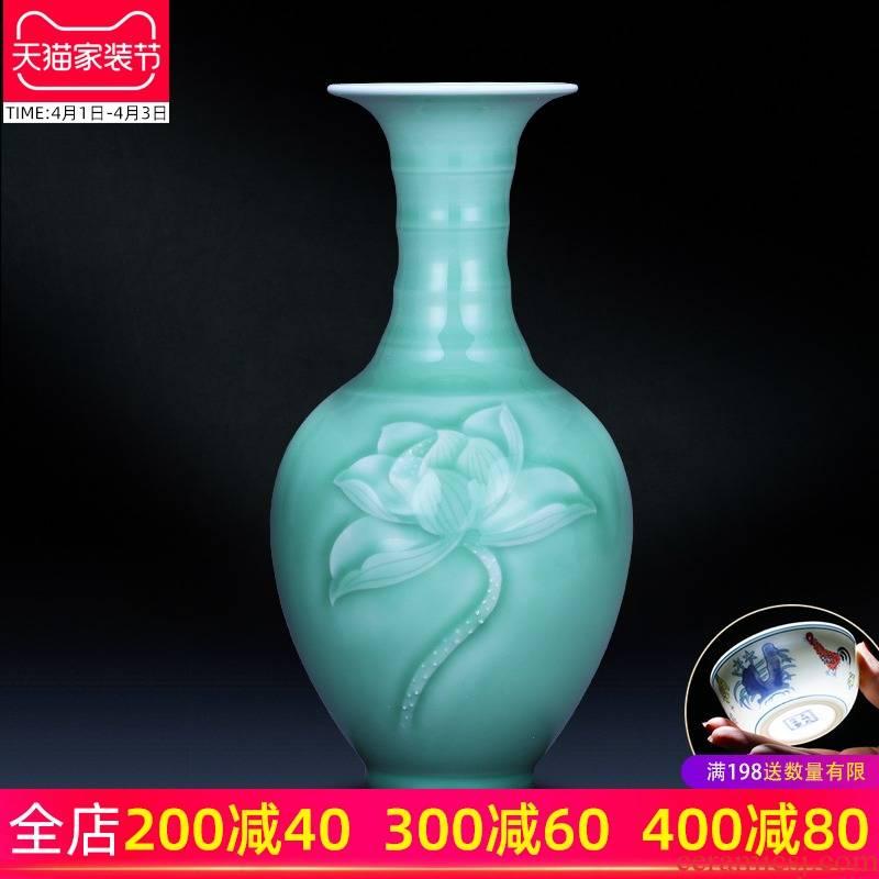 Jingdezhen ceramics reliefs green glaze vase is I and contracted zen household decorates sitting room flower arranging wine furnishing articles