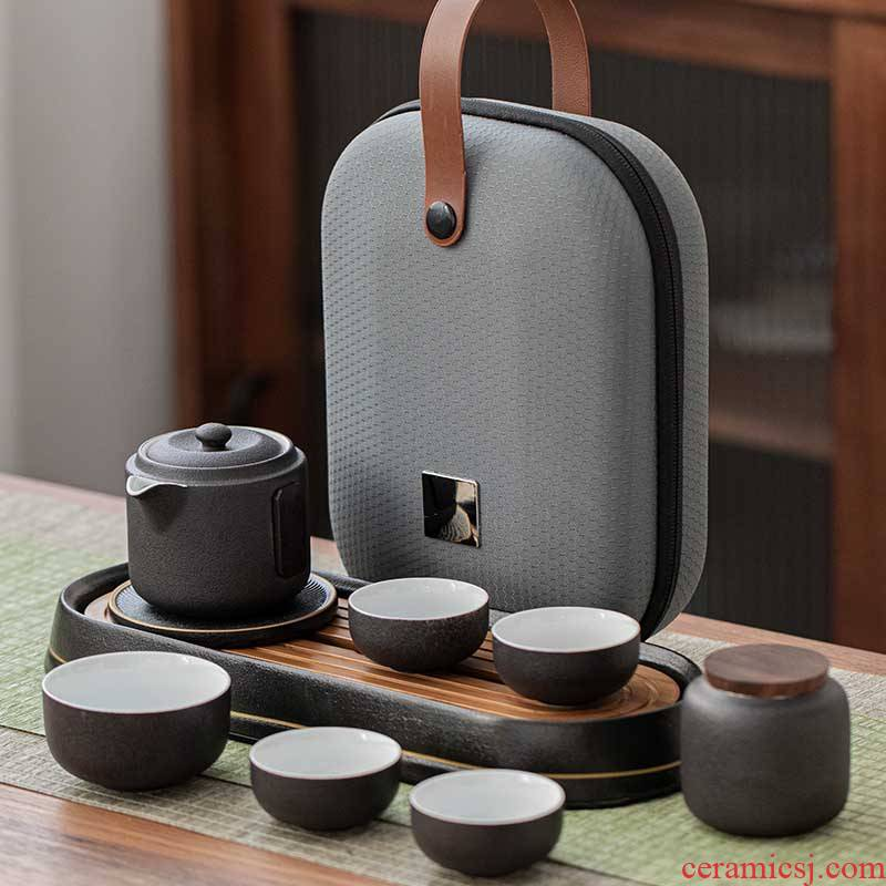 Porcelain easy travel heng tong kung fu tea sets, small household is suing portable bag type crack a pot of two cups of tourism