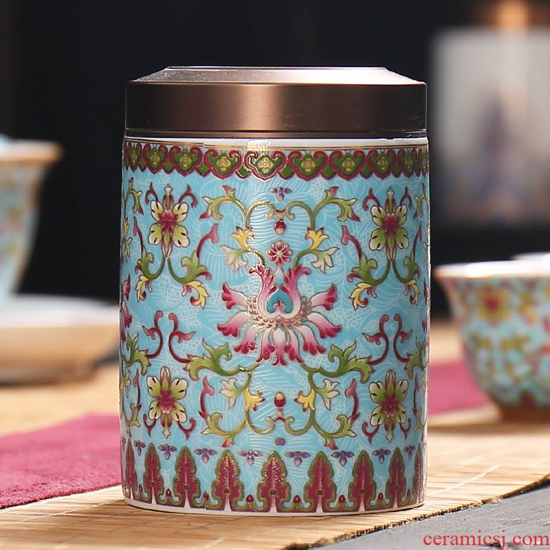 Colored enamel seal pot small caddy fixings ceramic tea boxes gifts tea packing box storage tank receives gift boxes