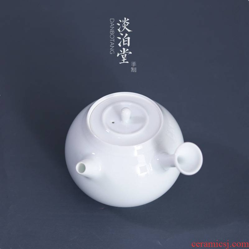 Poly real view jingdezhen sweet white glaze ball hole need side teapot tea white porcelain craft ceramic filter household utensils