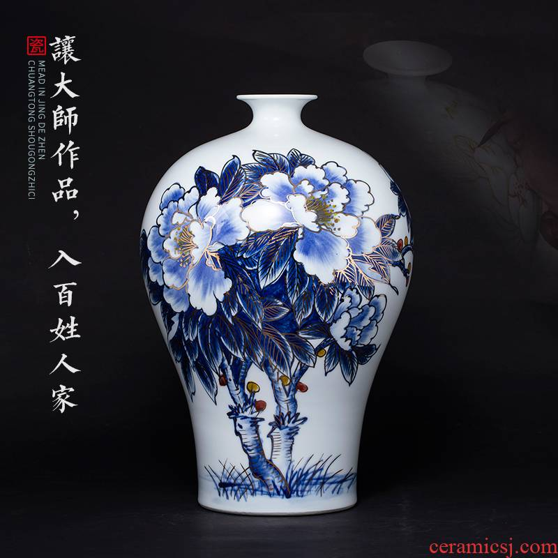 The Master of jingdezhen ceramics hand - made of blue and white porcelain vases, flower arrangement sitting room of Chinese style decoration gifts TV ark, furnishing articles