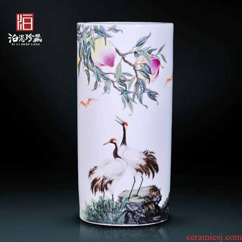 The Master of jingdezhen ceramics hand - made pine crane decoration new sitting room of Chinese style household vase collection furnishing articles