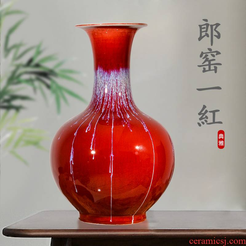 Jingdezhen ceramics up with ruby red insert decorative vase sitting room of Chinese style household crafts are rich ancient frame collection