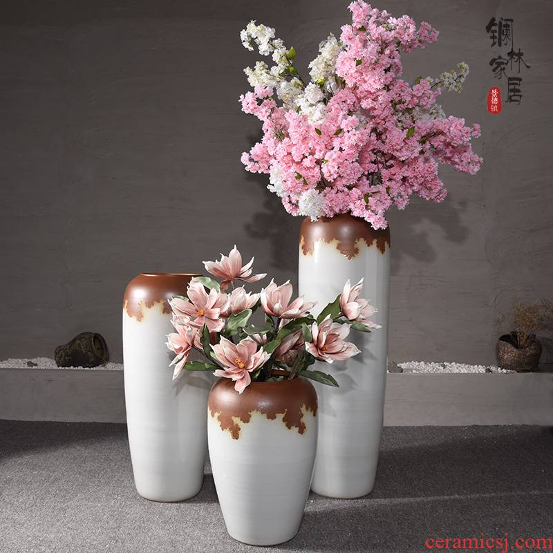 The Big vase landed sitting room lobby flower arranging place large Chinese style household adornment to heavy clay ceramic vase