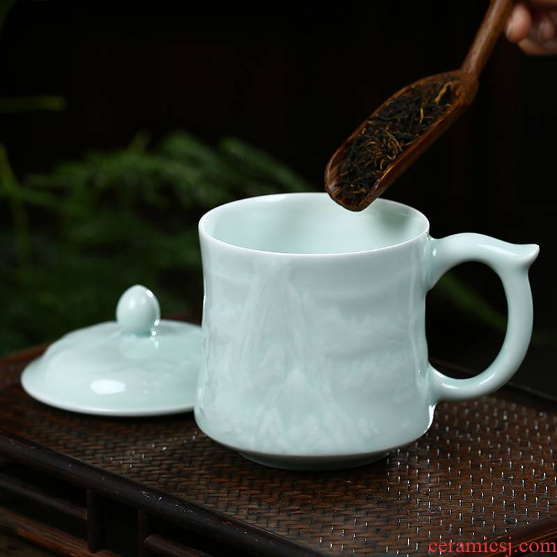 Jingdezhen shadow blue its ceramic tea cup with lid keller cups office boss cup cup gift cup