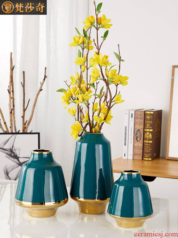 American vase Nordic creative furnishing articles contracted ceramic flower arranging dried flowers sitting room adornment TV ark type decoration