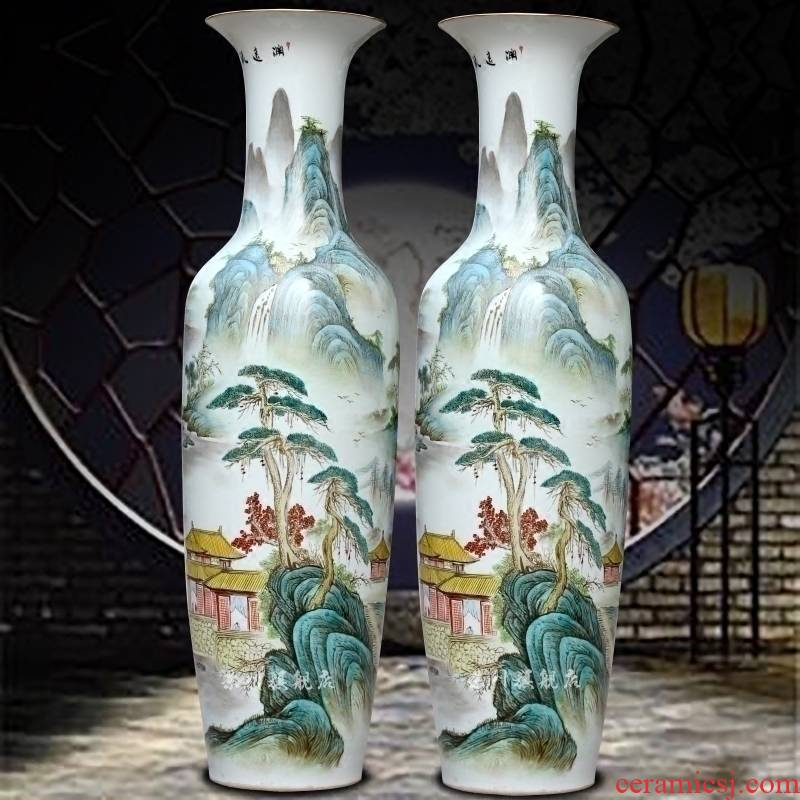 Hand made pastel rich landscape painting big sitting room of large porcelain of jingdezhen ceramics vase furnishing articles