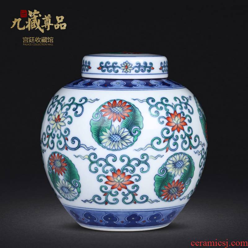 Antique hand - made porcelain dou CaiTuan by tea pot sitting room furniture study of jingdezhen ceramics decoration furnishing articles