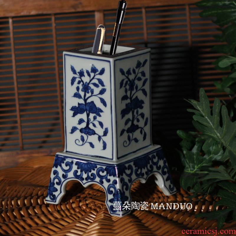Jingdezhen hand - made flowers and blue and white folding branches blue - and - white porcelain brush pot high Wen Fang jas together celebrates the hall in the the qing dynasty