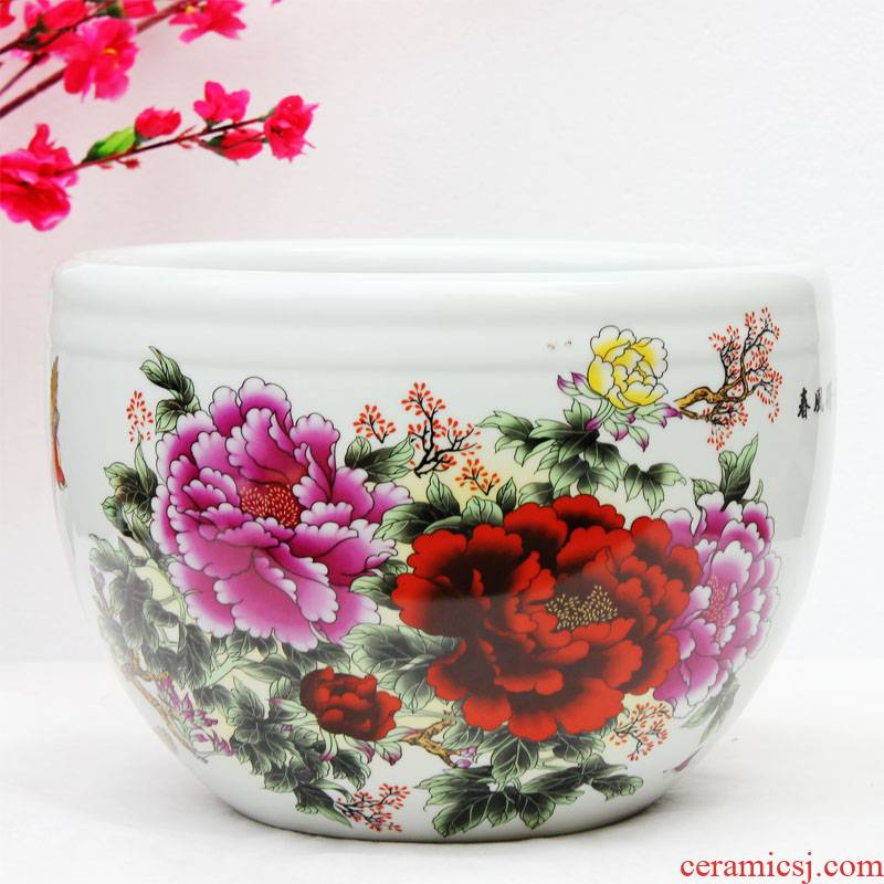 Yg12 jingdezhen chinaware lotus basin tortoise cylinder fish bowl lotus in the goldfish bowl flowerpot