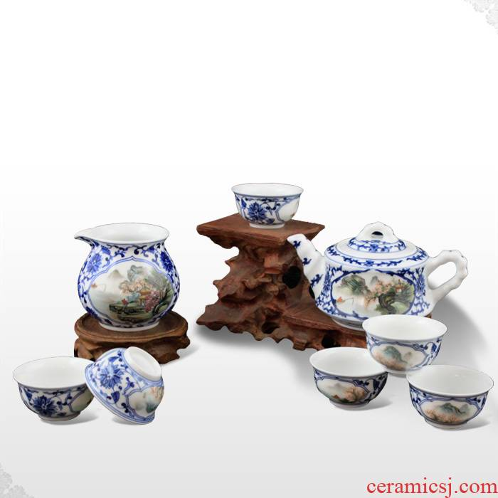 Offered home - cooked made in jingdezhen hand - made porcelain famille rose porcelain kung fu tea pot of tea taking jiangshan picturesque 】 【 sea