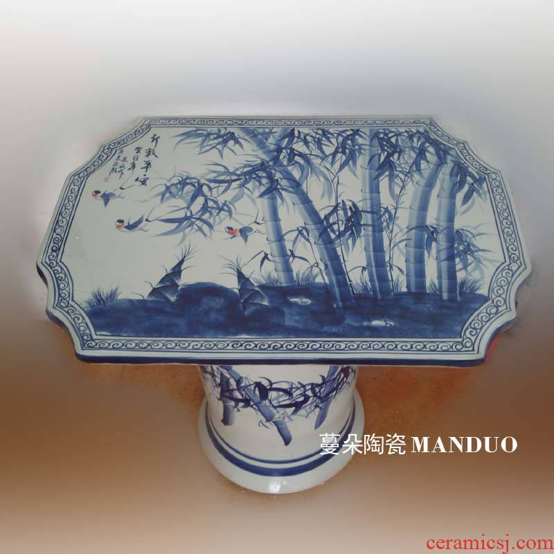 Jingdezhen blue and white flowers and birds hand - made a rectangle China custom table rectangle balcony table