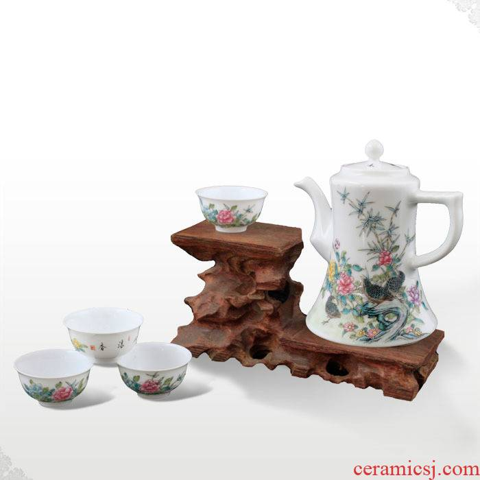 "Offered home - cooked in jingdezhen hand - made famille rose porcelain kung fu tea pot cup wine suits for ""happiness peace."" """