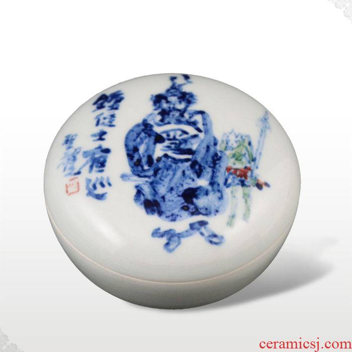 Offered home - cooked in jingdezhen porcelain stationery inkpad box of famous blue and white porcelain furnishing articles Tang Shengyao hand draw freehand brushwork in traditional Chinese gifts