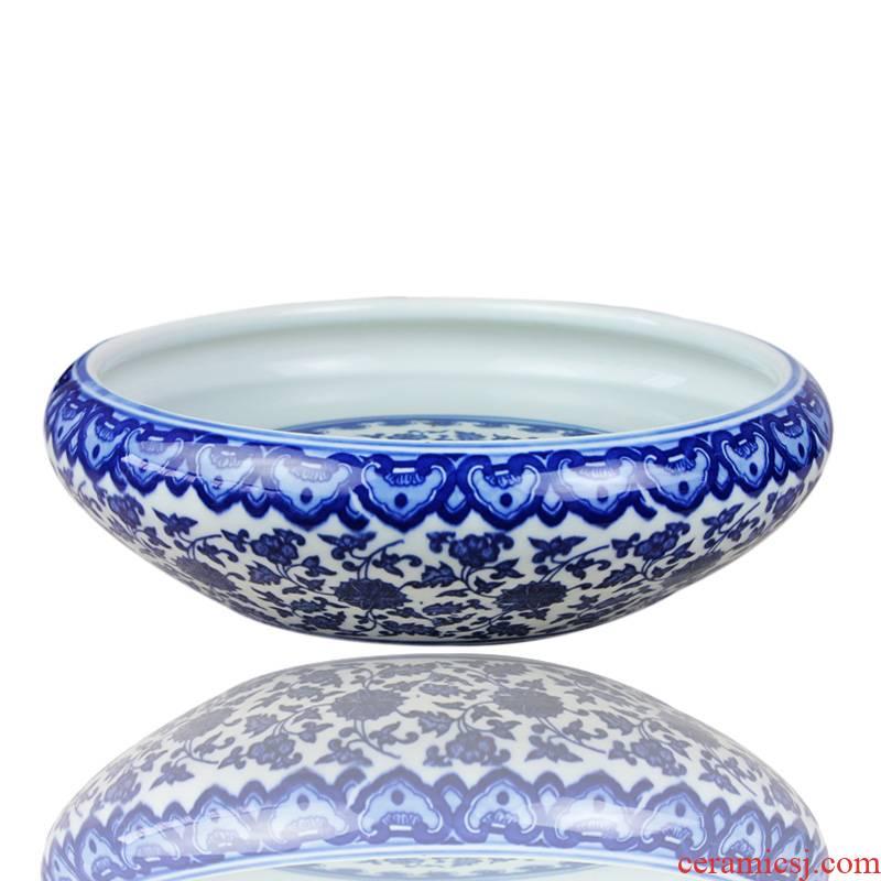 Yg50 wrapped branch lotus goldfish bowl of blue and white porcelain of jingdezhen ceramics tortoise cylinder water lily bowl lotus flower pot fish bowl