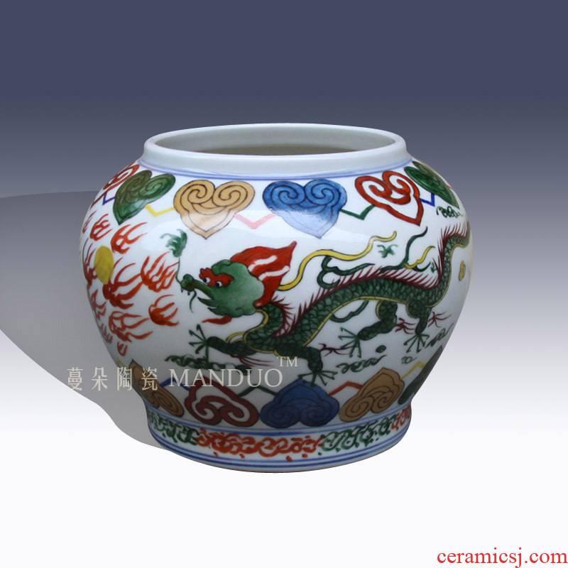 Jingdezhen imitation Ming xuande colorful flowers and birds can copy the Ming wanli five dragon grain fangming ceramic go to pot