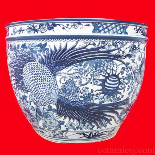 C124 jingdezhen ceramic aquarium water lily goldfish bowl lotus basin longfeng figure the tortoise to heavy cylinder large fish basin